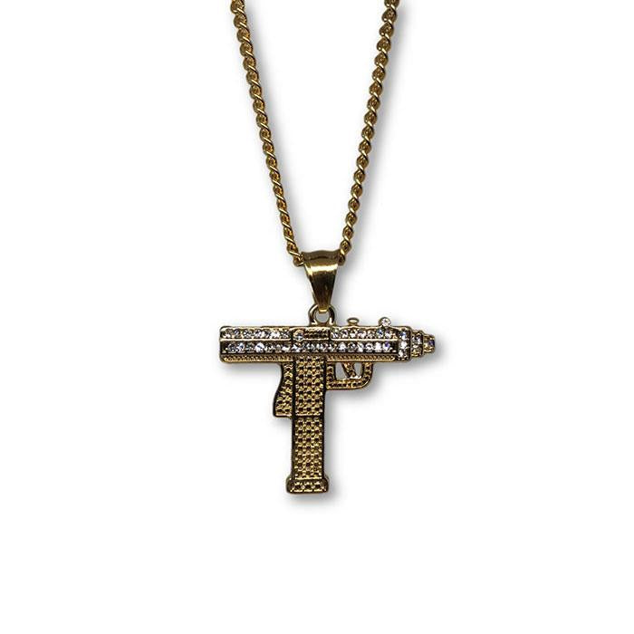 24IN 3MM GUN PENDANT WITH CHAIN STL_058 - WORLDSTARBLING