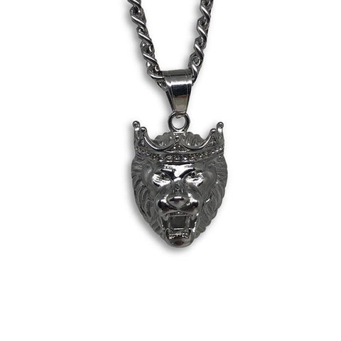 24IN 6MM WHITE STERLING STEEL CHAIN WITH LION CROWN PENDANT STL_067 - WORLDSTARBLING