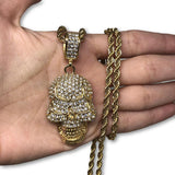30IN 4MM Rope Chain Gold Plated Stainless Steel With Skull Pendant STL_070 - WORLDSTARBLING