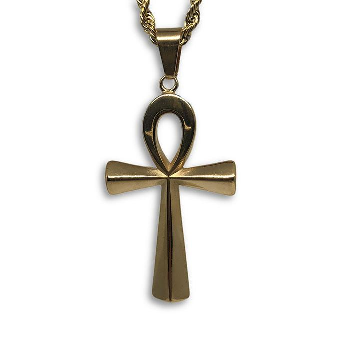 30IN 4MM Rope Chain Gold Plated Stainless Steel With Ankh Cross Pendant STL_074 - WORLDSTARBLING