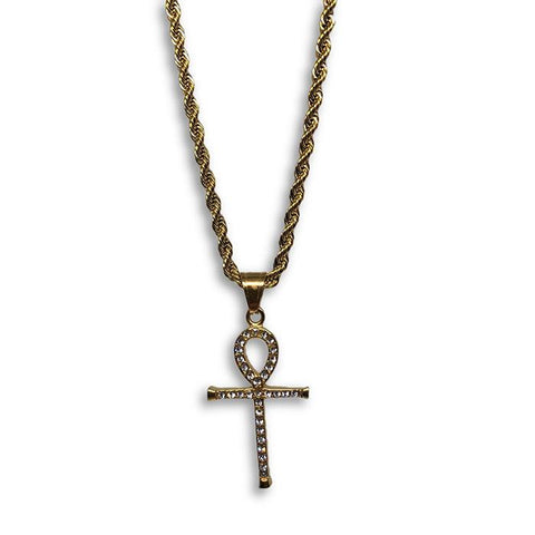 24IN 4MM Rope Chain Gold Plated Stainless With Ankh Cross Pendant STL_081 - WORLDSTARBLING