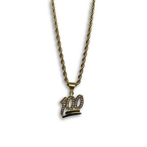 24IN 4MM Rope Chain Gold Plated Stainless With Emoji Pendant STL_083 - WORLDSTARBLING