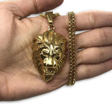 24IN 4MM Rollo Chain Gold Plated Stainless With Lion Haed Pendant STL_090 - WORLDSTARBLING