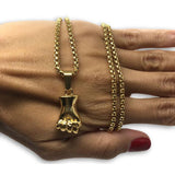 24IN 4MM Rollo Chain Gold Plated Stainless With Fist Pendant STL_100 - WORLDSTARBLING