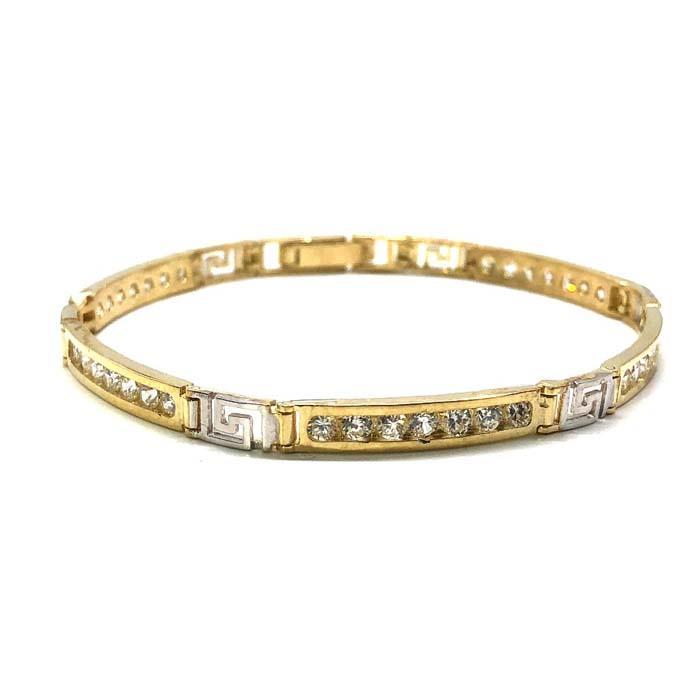 Yellow & White Gold Bracelet Versac CZ WBG-005 - WORLDSTARBLING