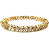 Loose Tennis Bracelet 10K Yellow Gold 6.8MM WBG-009 - WORLDSTARBLING