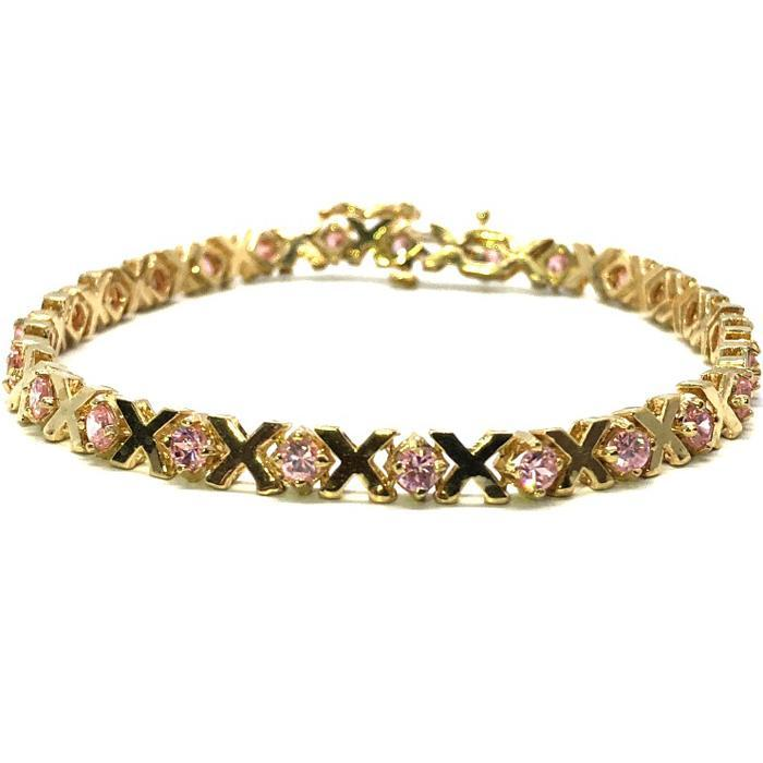Bracelet de Tennis X Plat Rose Or Jaune 4.8MM WBG-019