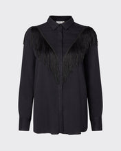 Load image into Gallery viewer, Minimum Dualine long sleeved black western style shirt blouse with fringing