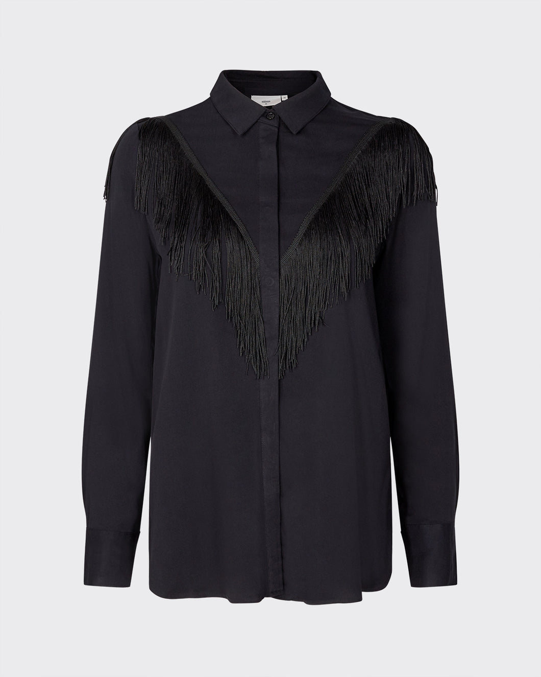 Minimum Dualine long sleeved black western style shirt blouse with fringing