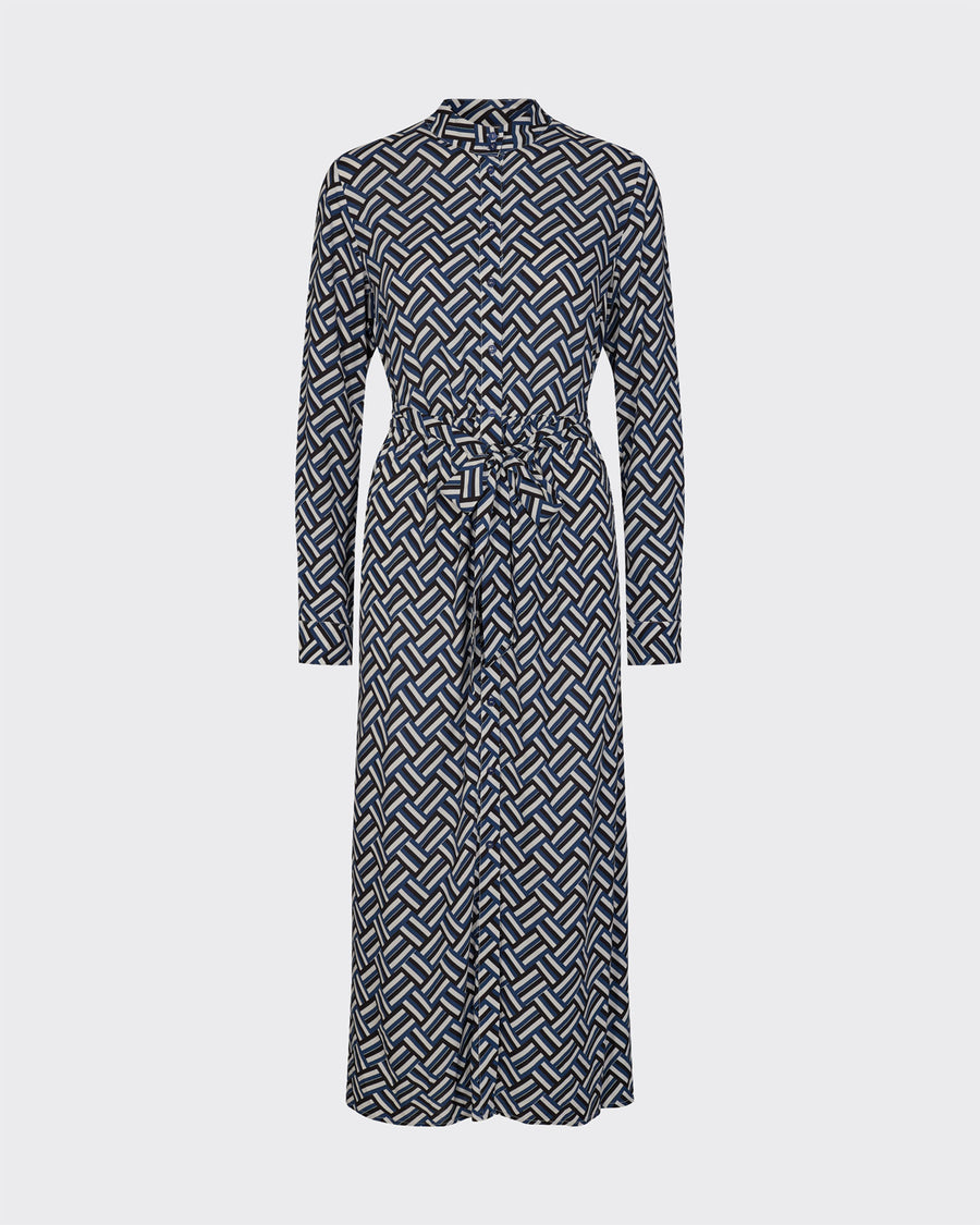 Minimum Brinie bel and white patterned maxi shirt dress