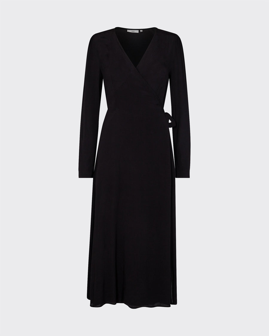 Minimum Elastica black maxi dress with tie waist