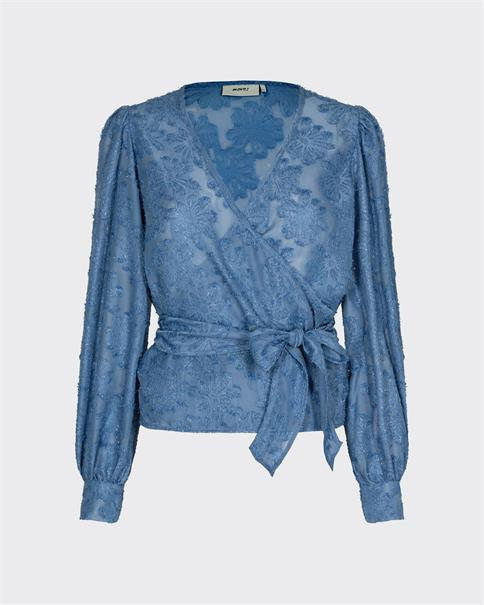Moves Patti blue floral chiffon wrap round top blouse