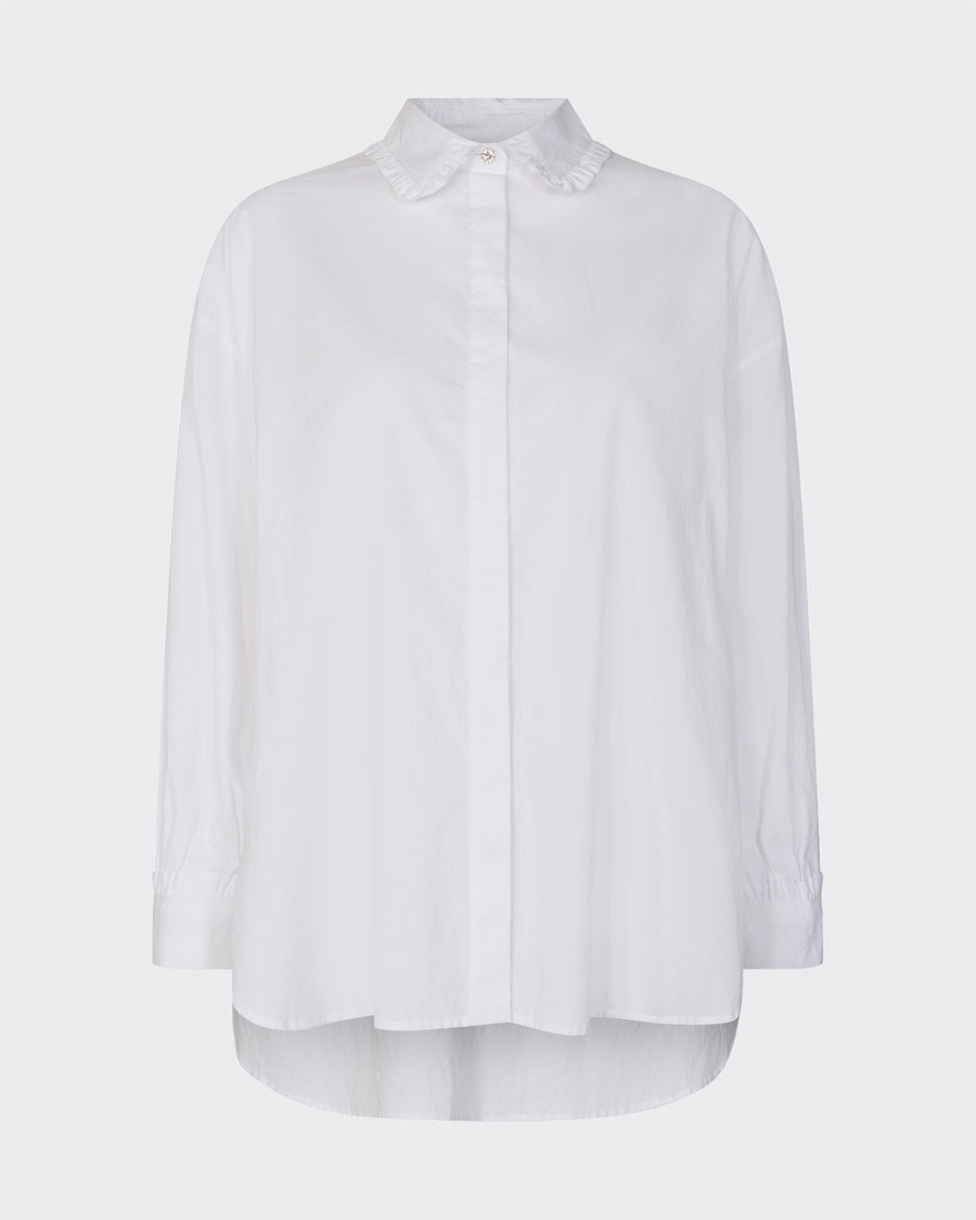 Minimum Tillena white shirt with diamanté button