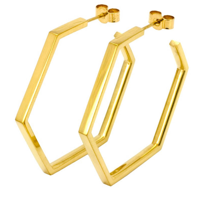 Laura Gravestock large hex hoops 18CT gold plate