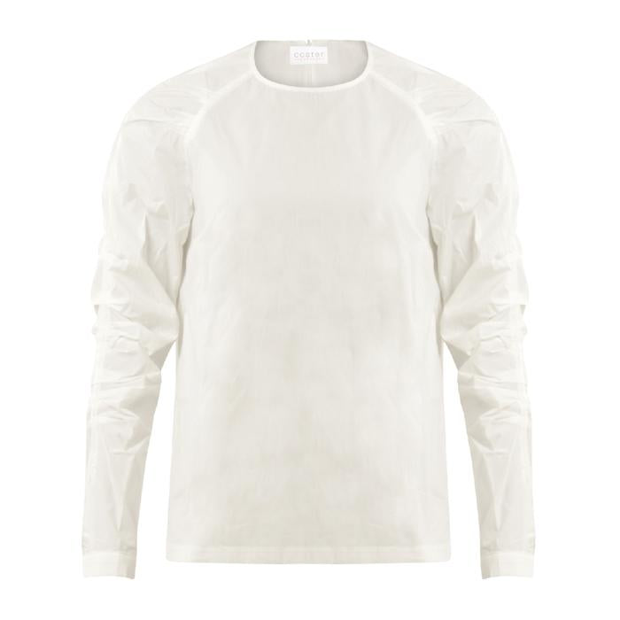 Coster Copenhagen white shirt blouse with pleated sleeves