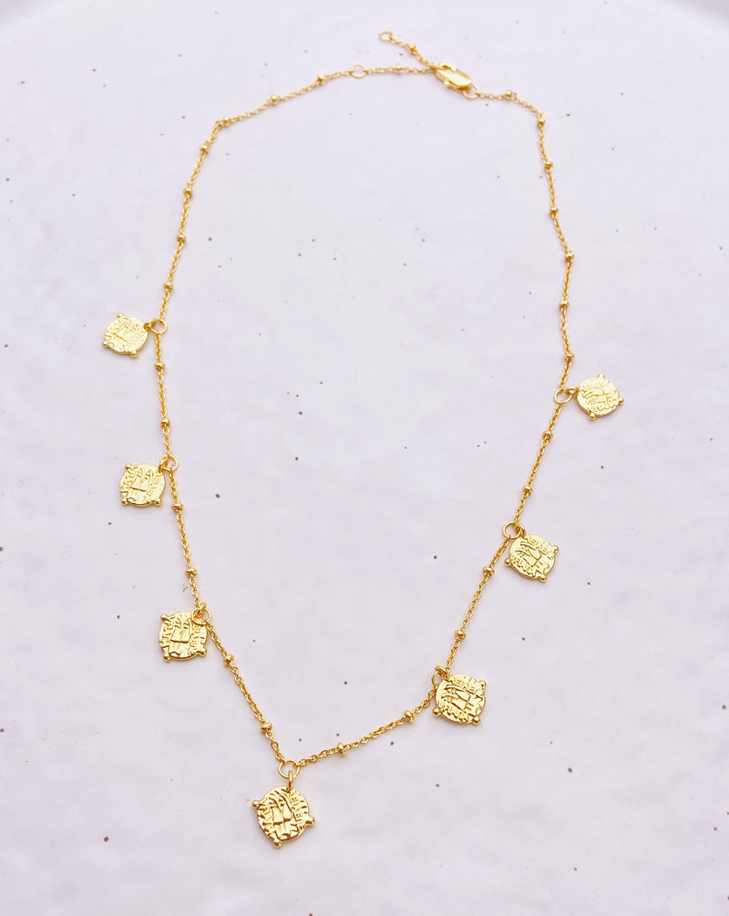 18K gold plated link chain necklace with coins