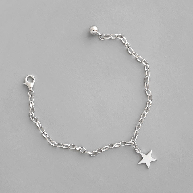Sterling silver chain bracelet with star