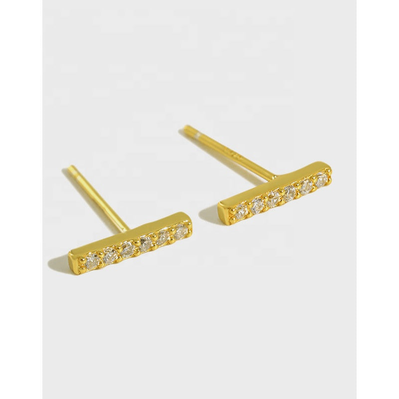 Gold plated on sterling silver pave  bar studs