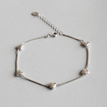 Sterling sliver delicate chain bracelet with hearts