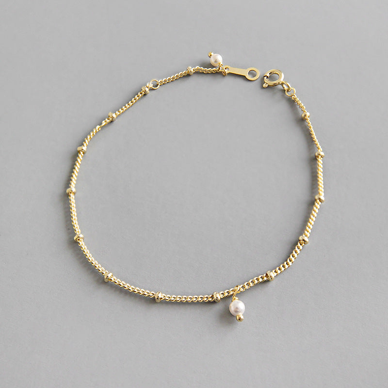 14K gold plated on sterling silver delicate chain with pearls