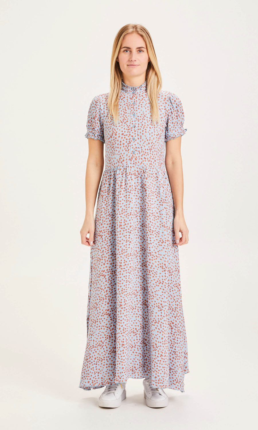 Knowledge Cotton Apparel Fleur flower print blue maxi dress