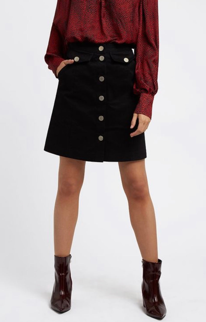 Louche Neola twill black mini skirt