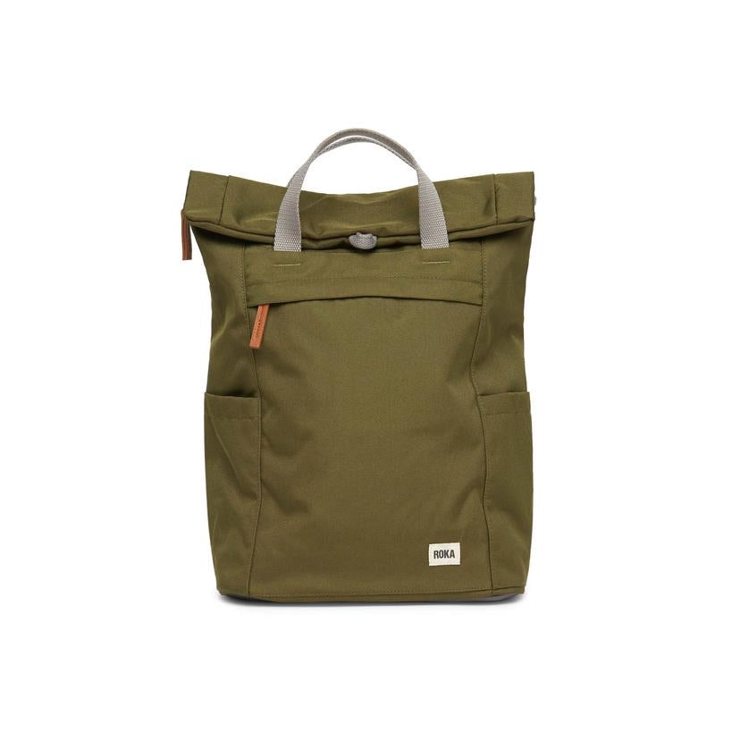Roka London Finchley sustainable rucksack moss green recycled plastic bag