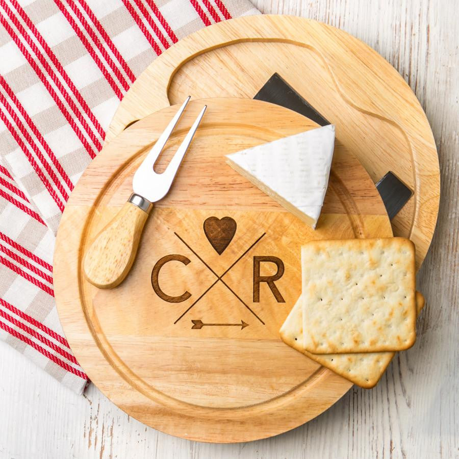Dust & Things personalised cheese board wedding gift