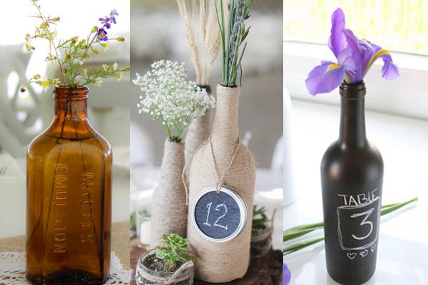 3 ideas for bottle centrepieces at a rustic, boho or vintage wedding