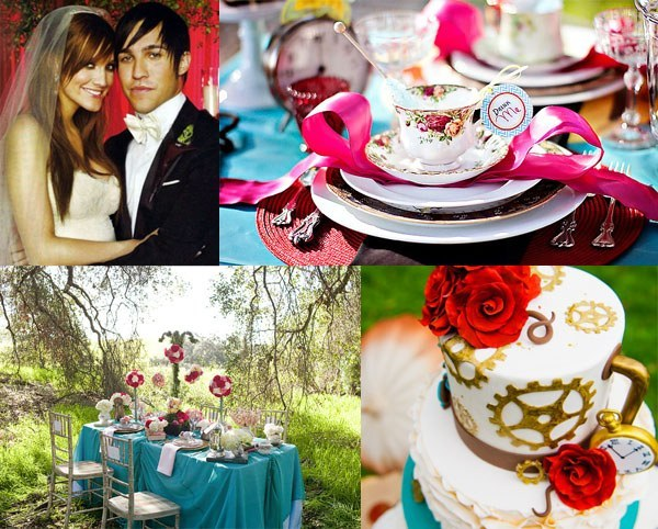 Ashlee Simpson and Pete Wentz wedding inspiration including alice in wonderland themed reception