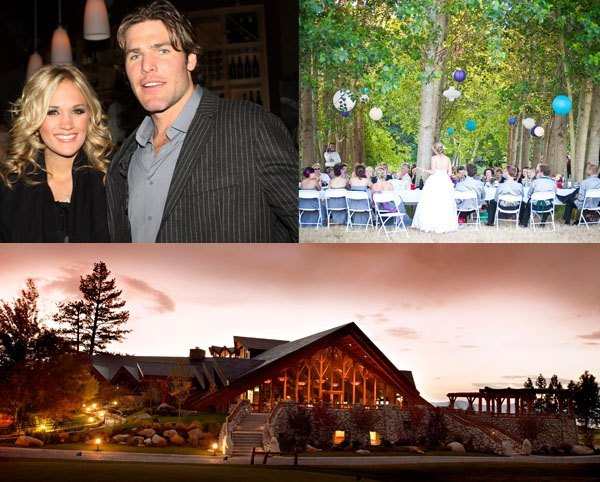 Carrie Underwood and Mike Fisher boho wedding inspiration including small outdoor ceremony and rustic wedding lodge accommodation