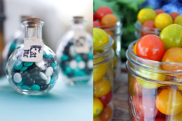 Two examples of colourful filled jars for a vintage wedding centrepiece