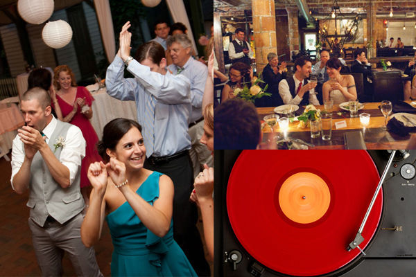 Guests dancing at an indie wedding, a vinyl record playing and hipster newlyweds making a toast