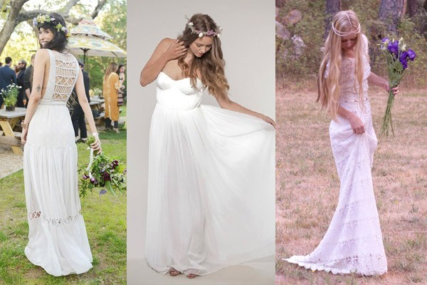 A collage of three boho brides modeling indie and hipster wedding dresses outdoors