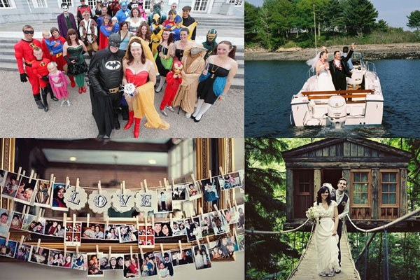 Unusual wedding themes including fancy dress, boat and treehouse weddings