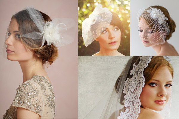 A collection of unusual wedding veils for an indie, vintage or hipster wedding
