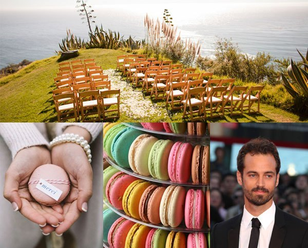 Natalie Portman and Benjamin Millepied Wedding Inspiration including macaron wedding cake and merci wedding favours