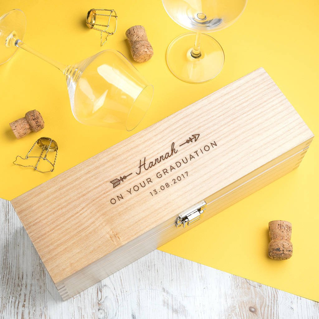 Dust & Things personalised wine box graduation gift