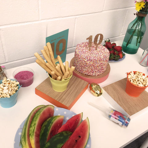 Our party nibbles and the amazing cake