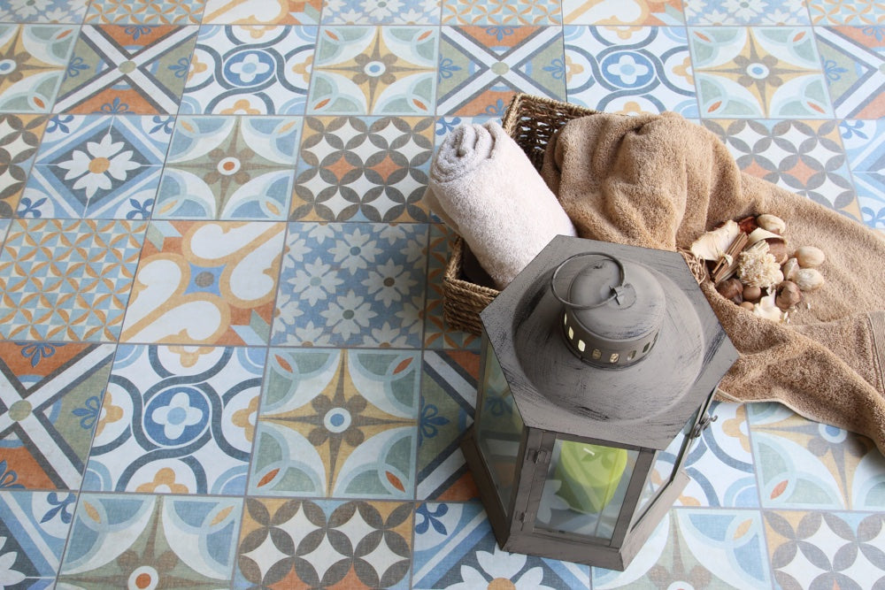 Create a beautifully bespoke bathroom, whatever your budget: geometric floor tiles