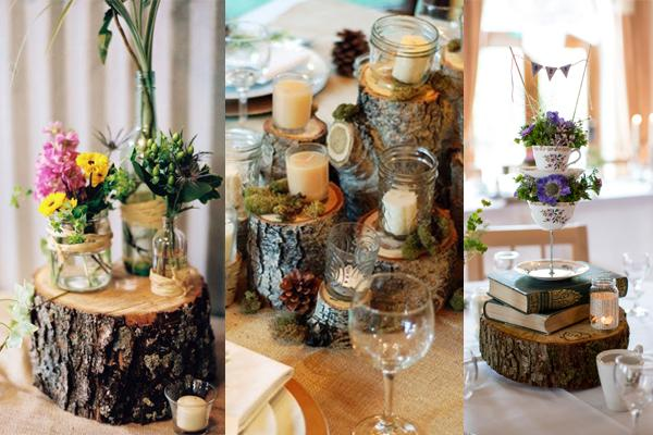 Ideas for tree slice centrepieces at a rustic or boho wedding reception