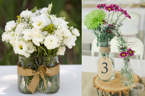 2 ideas for jar centrepieces at a vintage or rustic wedding