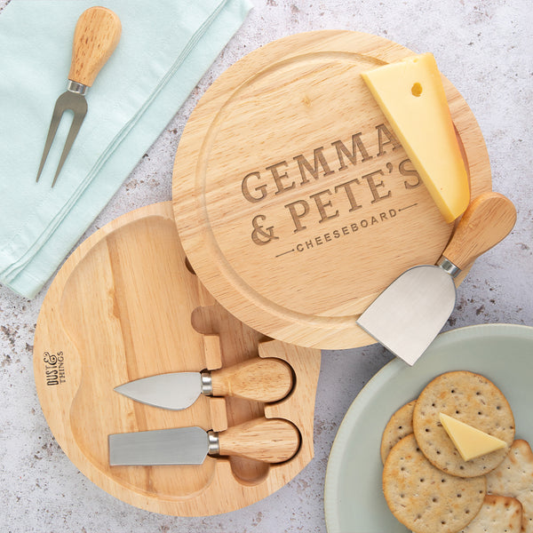 Couple Gifts Gift Anniversary Marriage Cheeseboard Bride Wedding Personalised Mr and Mrs Cheese Board Set with Cheese Knives Groom