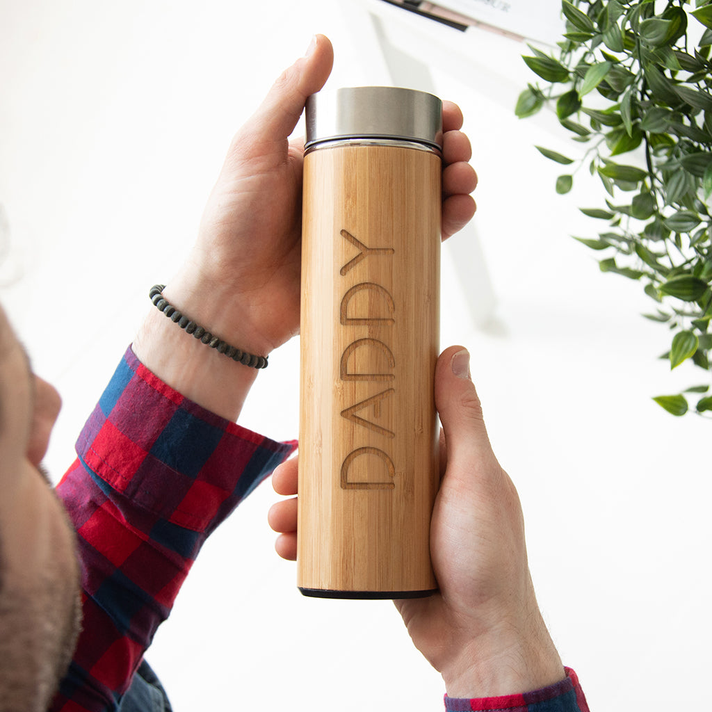 Personalised Sustainable Bamboo Water Bottle For Dad