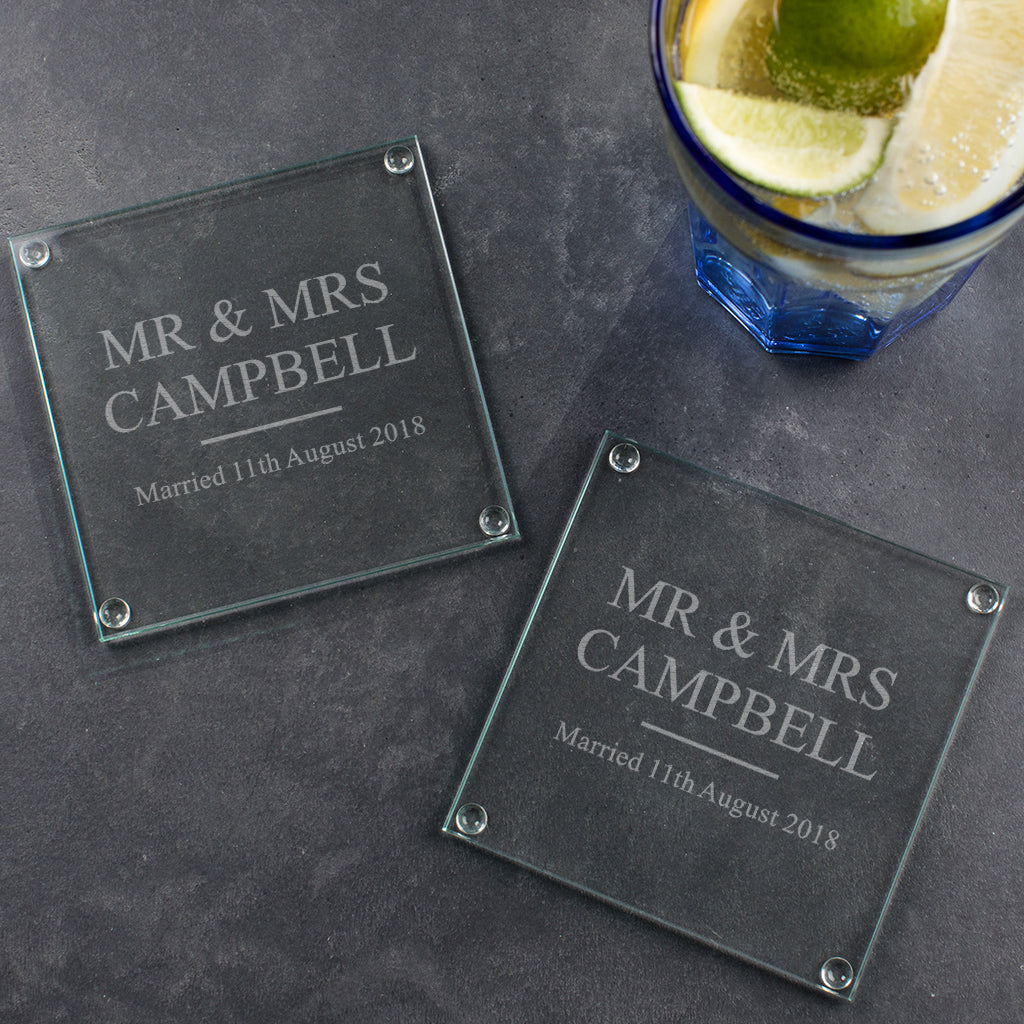 Personalised Wedding Gift Glass Coasters Dustandthings Com