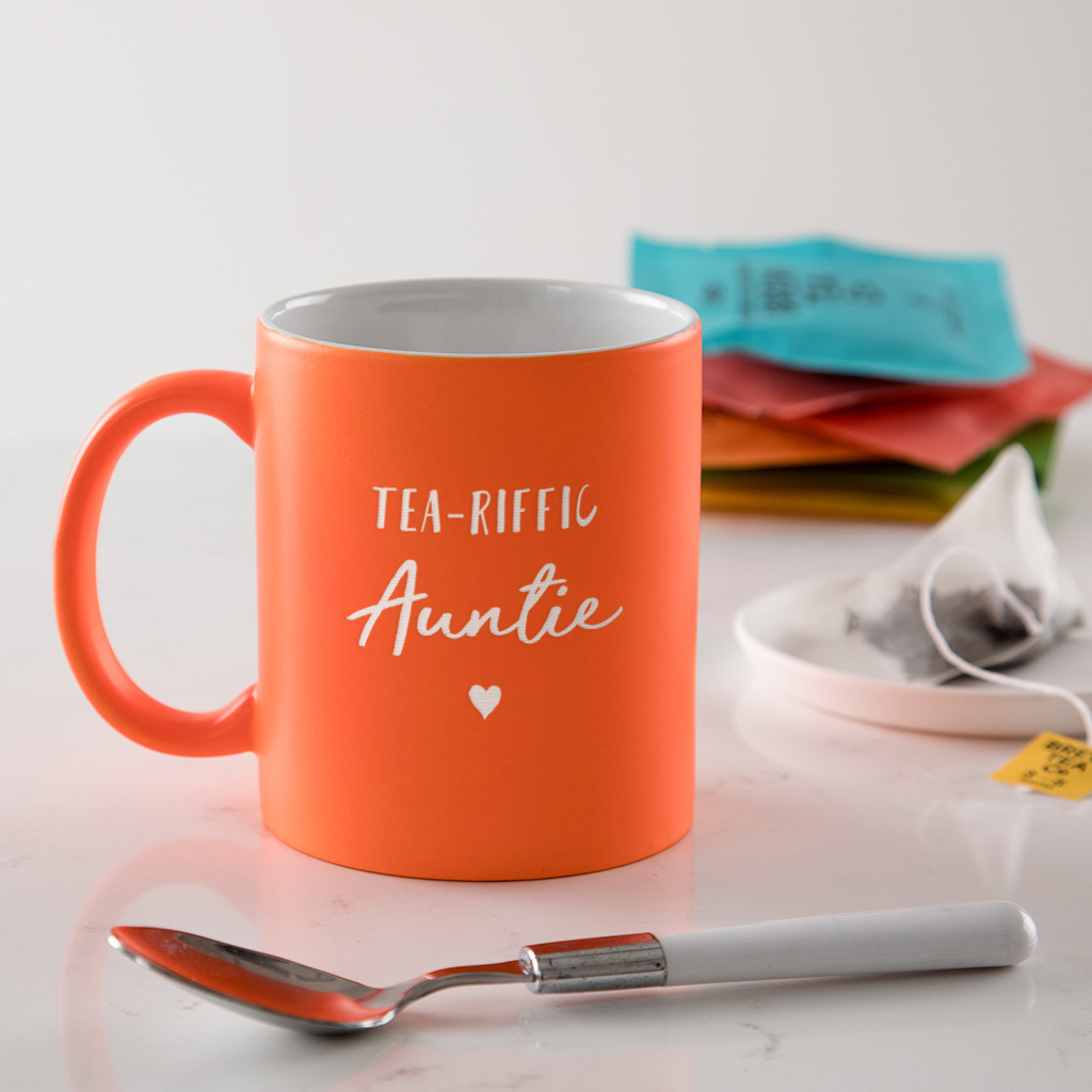 Personalised Tea Riffic Birthday Mug For Auntie