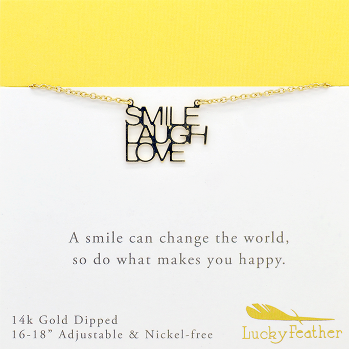 Smile Laugh Love Quote Necklaces 60K Gold Plated Amazing Smile Laugh Love Quotes