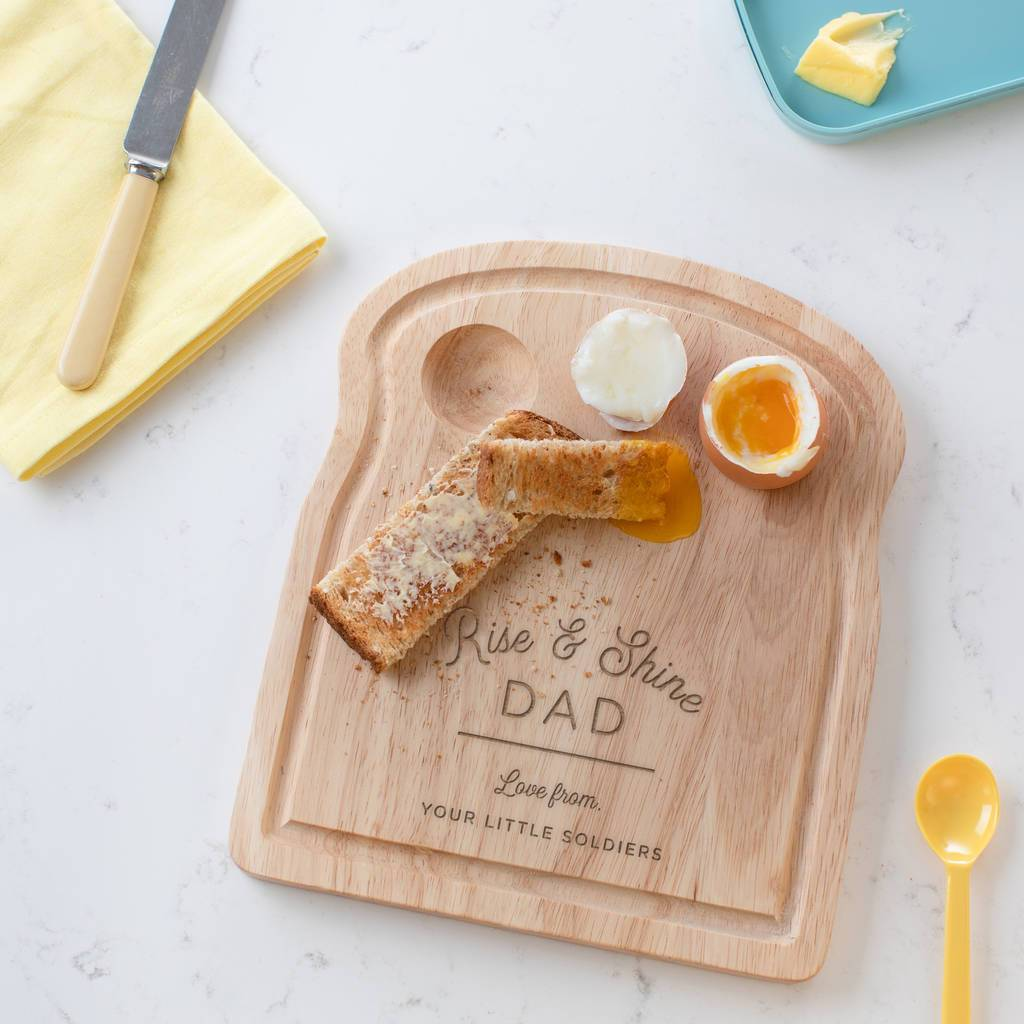 Personalised 'Rise And Shine' Dippy Egg Board For Dad