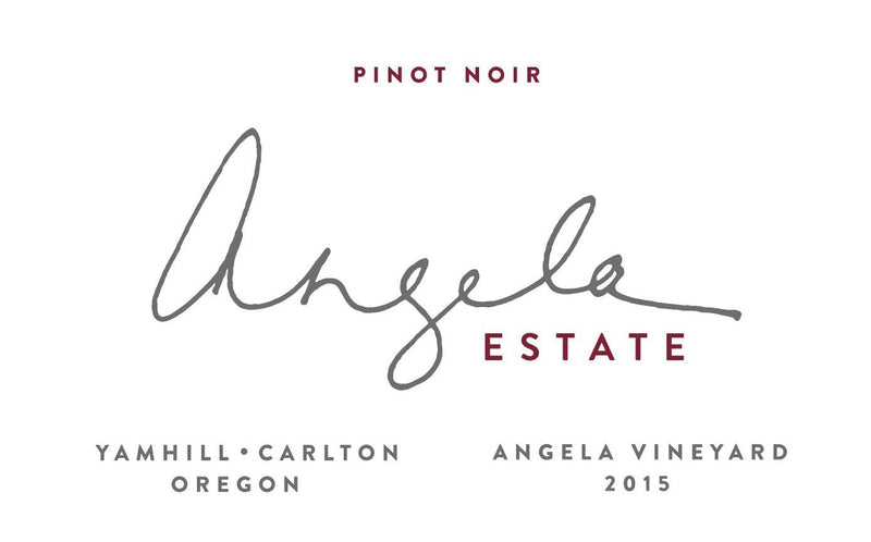 """Angela Vineyard"" Pinot Noir 2015 label"