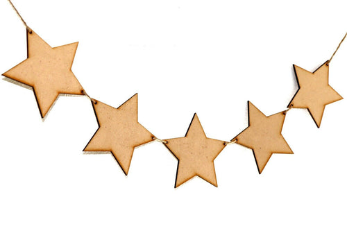 Wooden Party Bunting Star Party Embellishment Craft Decoration Blanks MDF Shapes